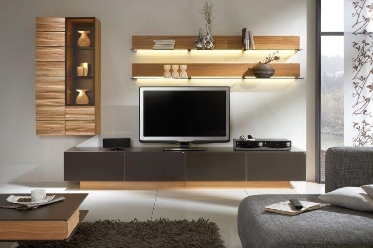 V Montana Voglauer Holz Wohnwand Led Streifen Regale Licht Tv