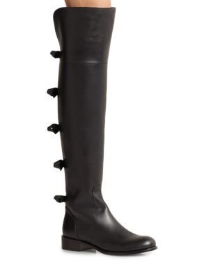 Valentino Leather Over the Knee Bow Boots   Footwear