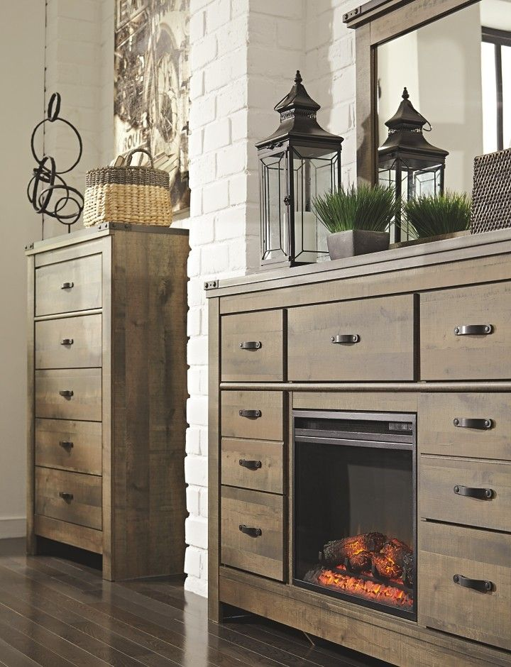 Trinell Brown Dresser with Fireplace Option Bedroom