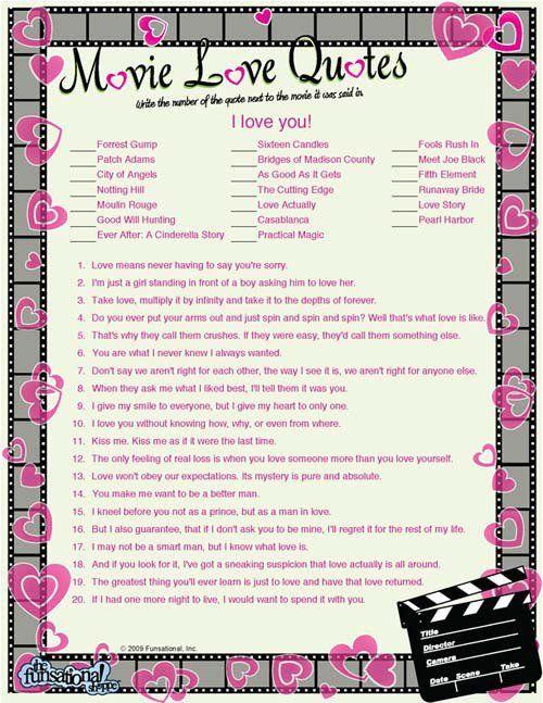Movie Love Quotes Game Movie love quotes, Romantic movie