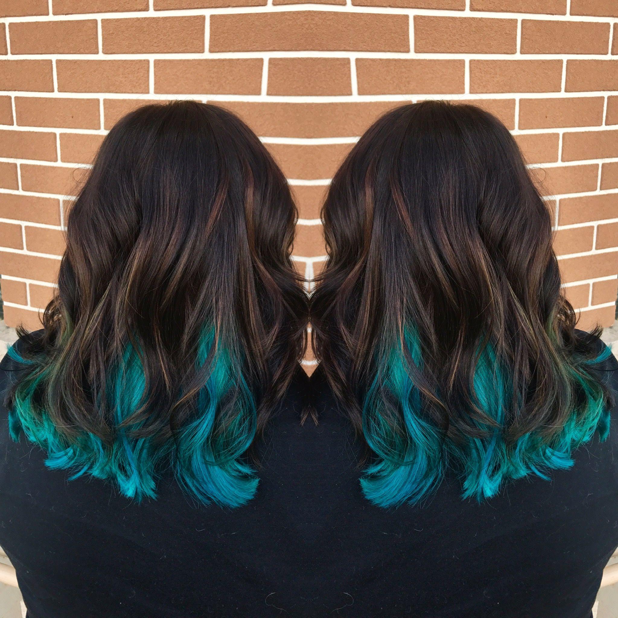 Teal Hair Peekaboos Balayage Caramel Highlights Blue Hair Don T Care Teal Hair Hairdo Blue Hair