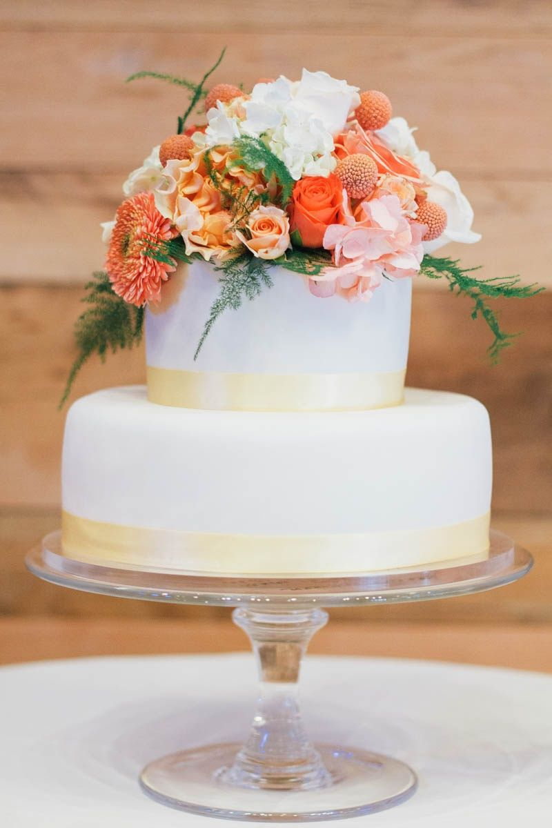 Fresh Flower-Topped Peach and White Wedding Cake | Carrie\'s Cakes ...