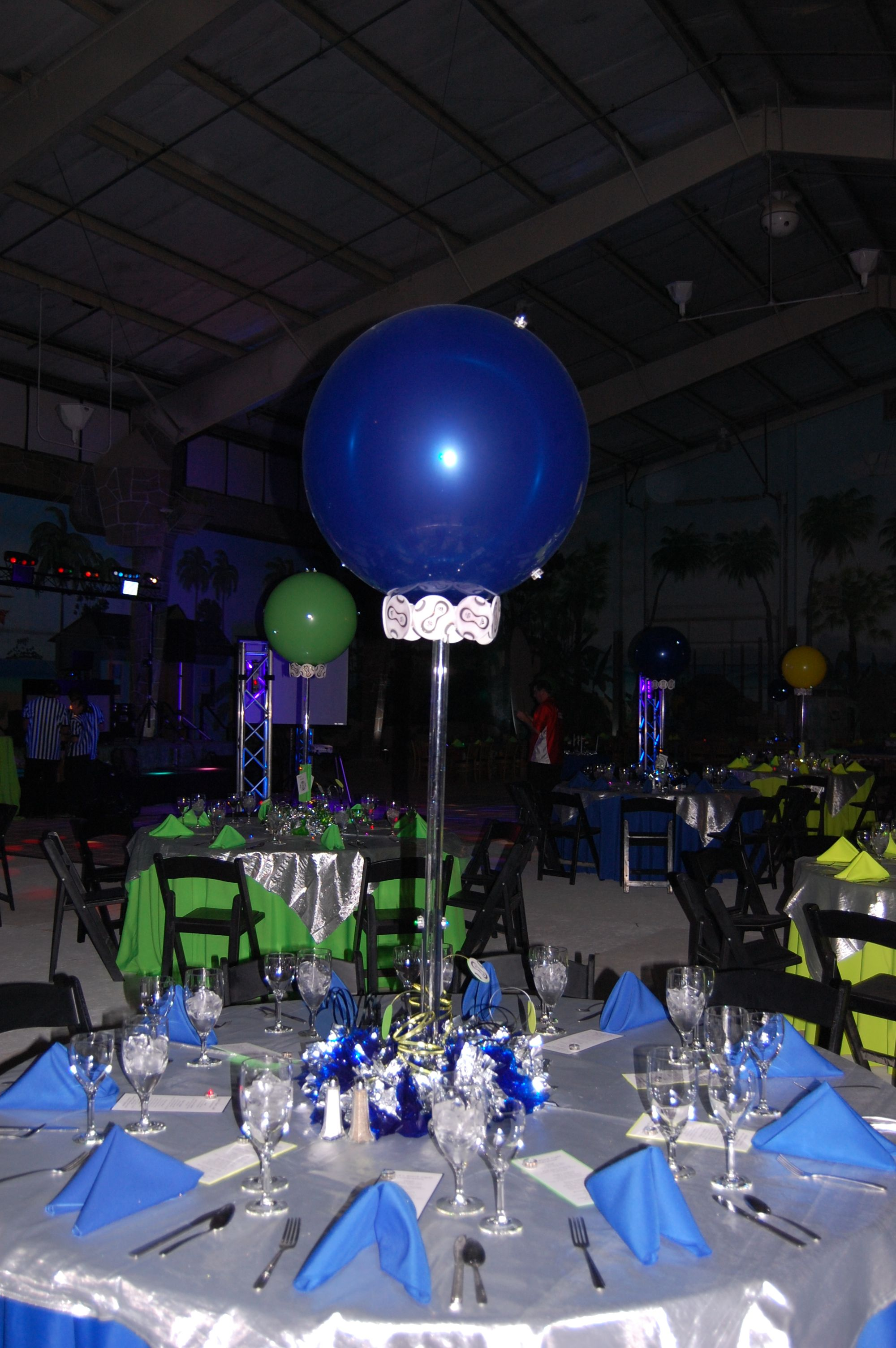Bar Mitzvah party with a theme of black lights and sports.  This was fun to design.