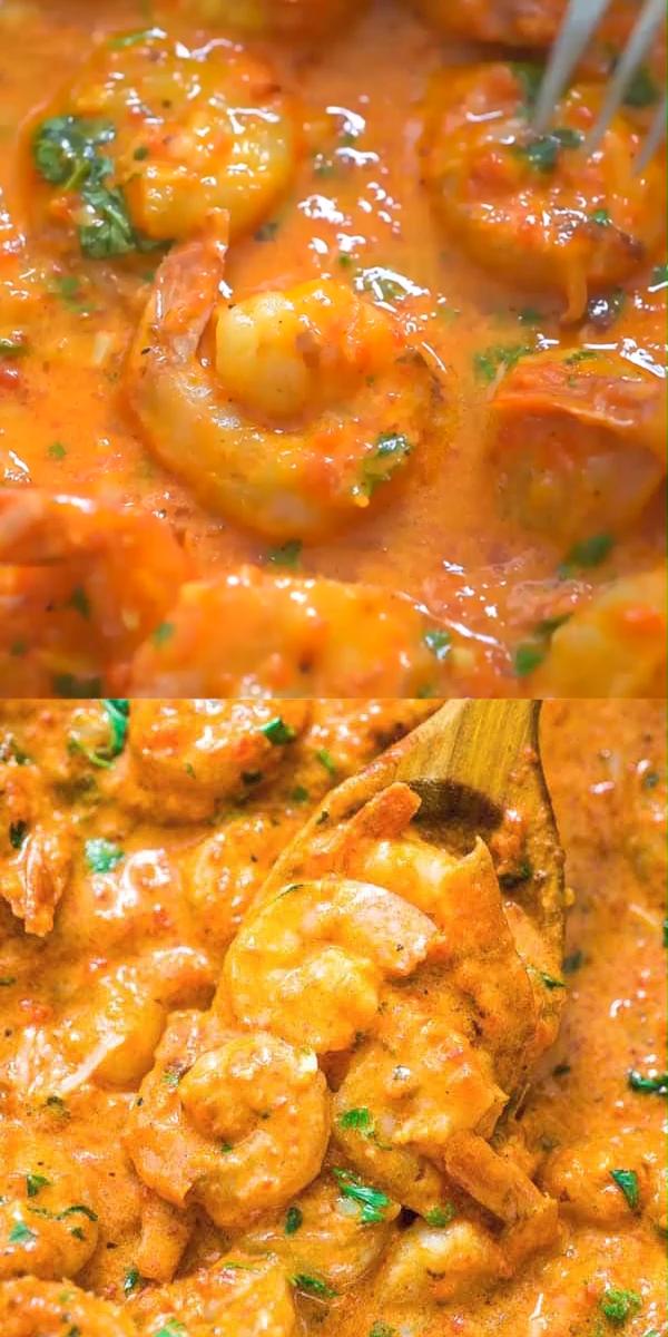 Shrimp in Roasted Pepper Sauce