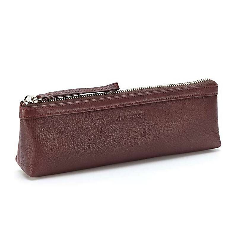 Burgundy leather pencil pouch (monogrammable)