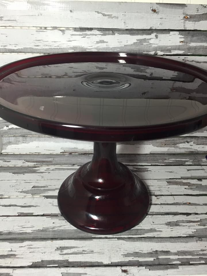Mosser Glass 12u2033 Red Cake Plate Stand Milk Glass Footed Pedestal Deep Dark Red! & Mosser Glass 12u2033 Red Cake Plate Stand Milk Glass Footed Pedestal ...