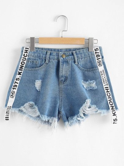 Women Shortsfor Look Ripped Denim Hem Letter Romwe1er En Frayed IYb7vmf6gy