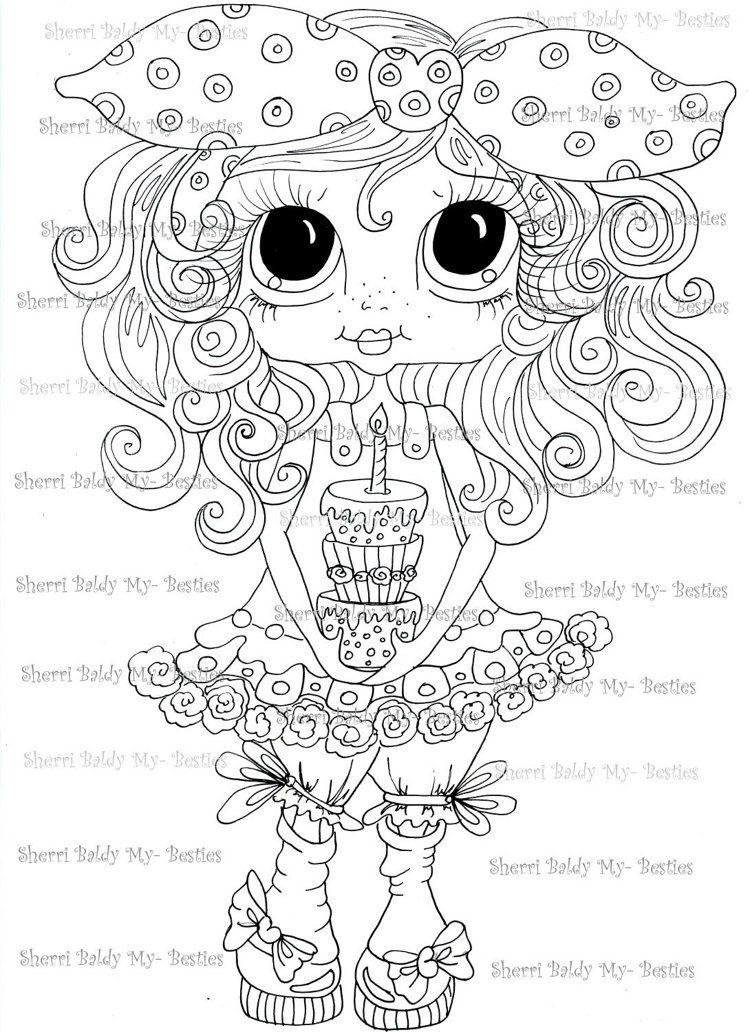 Instant Download Digital Digi Stamps Big Eye Big Head Dolls Messy