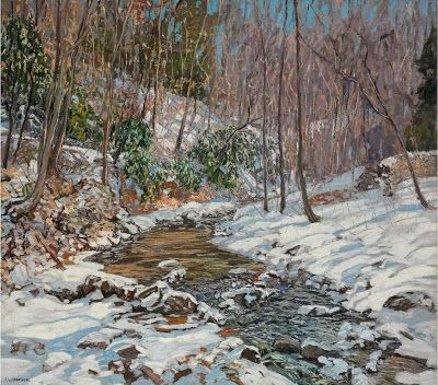 by Edward Willis Redfielf, Woodland Brook, 1914, from Christopher Volpe's Art Blog: Great Snow Paintings