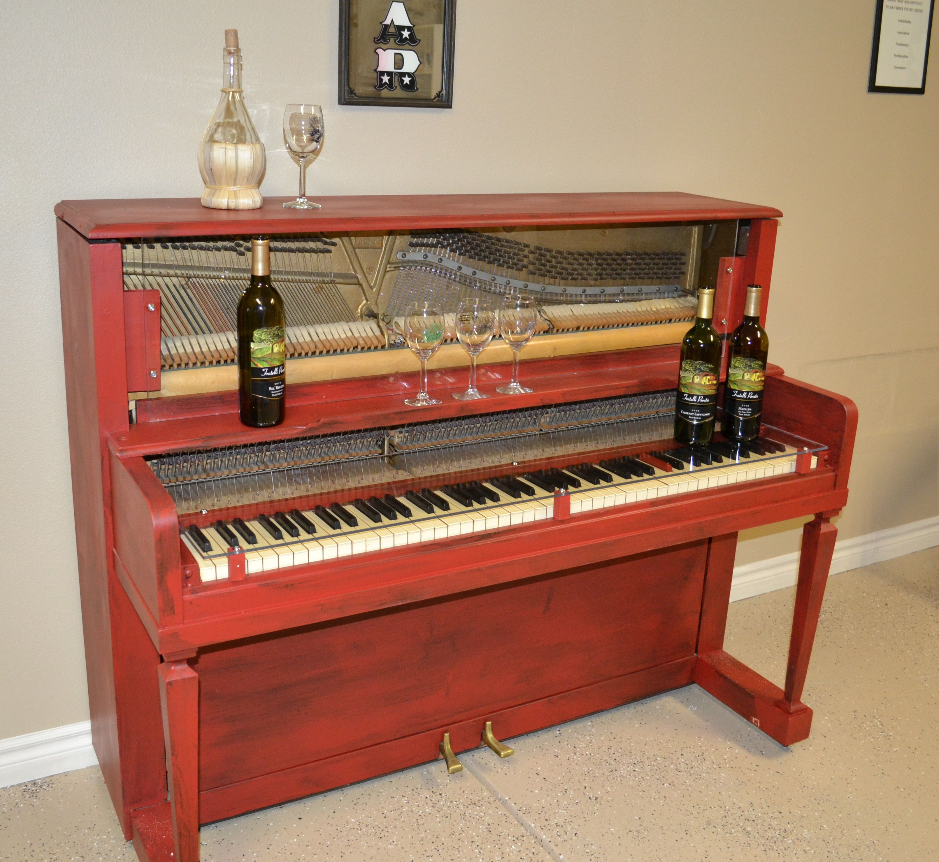 Old Piano Made Into A Wine Bar! Red Paint, 2 Pieces Of Plexiglass And