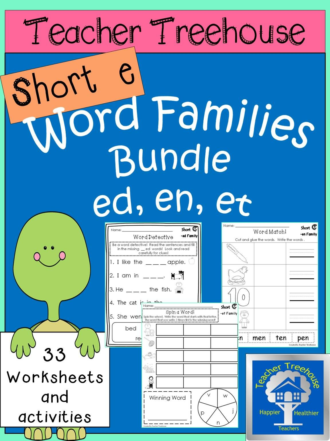 This Is A Bundle Of Short E Word Family Packets The Three