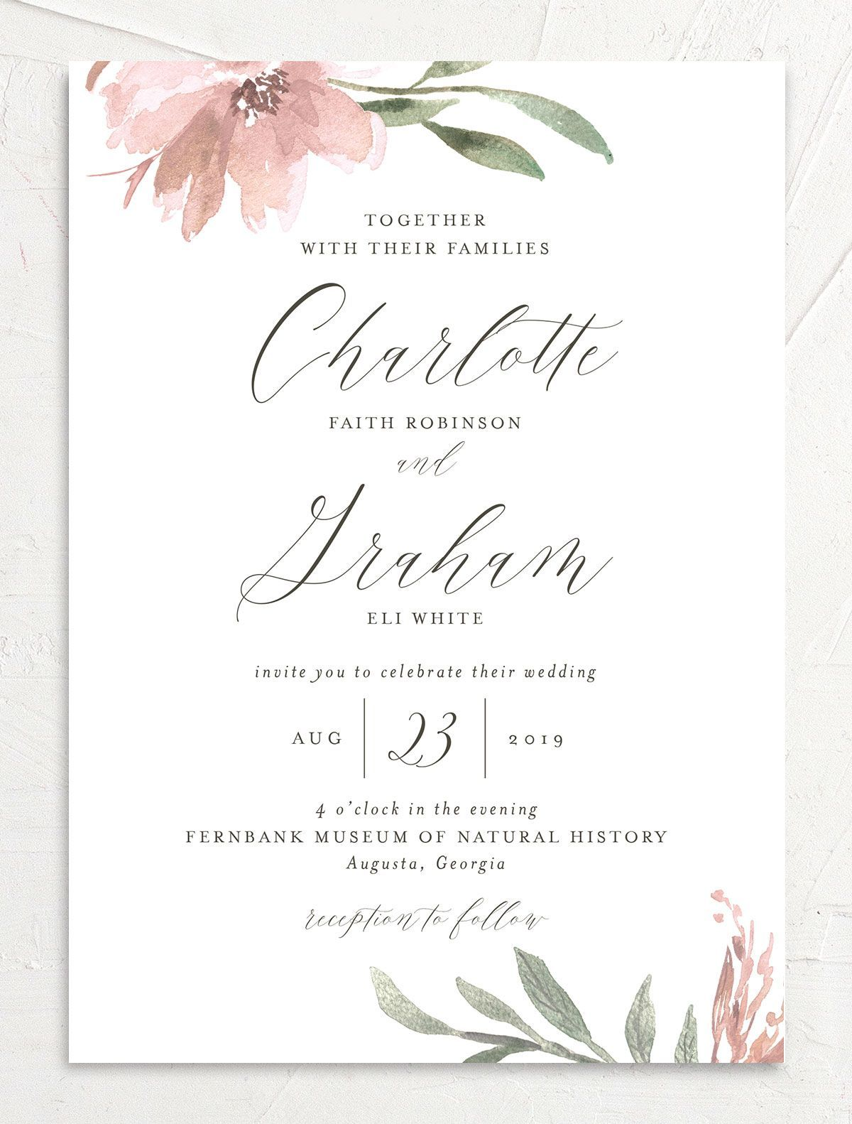 Muted Floral Wedding Invitations In Blush Pink Floral Wedding Invitations Digital Wedding Invitations Digital Wedding Invitations Design