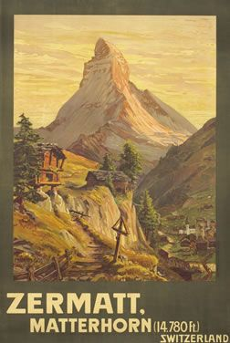Zermatt Matterhorn Gos Francois 1904 27 5 X 40 70 X 102 Cm Lithograph Backed On Linen Id Swl18924 2 001 To 3 800 Vintage Travel Posters Travel Posters Ski Posters
