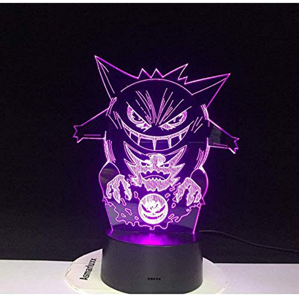 Kreative Illusion Neue Pokemon Gengar 3d Lampe Kuhle Bunte Led Nachtlicht Usb Schwarz Basis Ca Schreibtischlampe Kinder Neue Pokemon Weihnachtsgeschenke Kinder