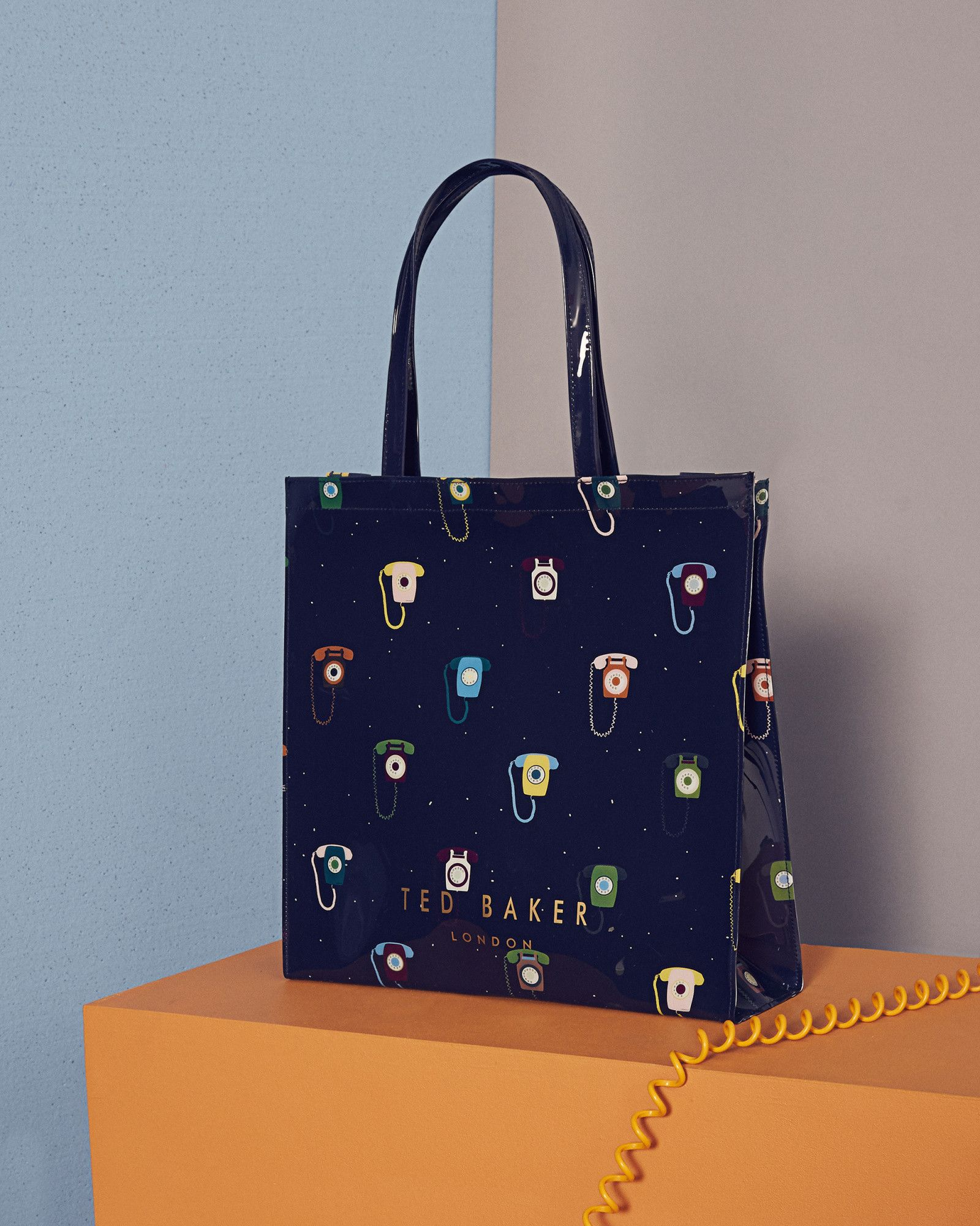 76a291611c Ted Baker Telephone print large icon shopper bag Dark Blue ...