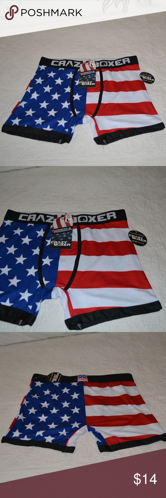 eae94008cb0 CRAZY BOXER American Flag Boxer Briefs L CRAZY BOXER Men s American Flag  Black Waist Boxer Briefs