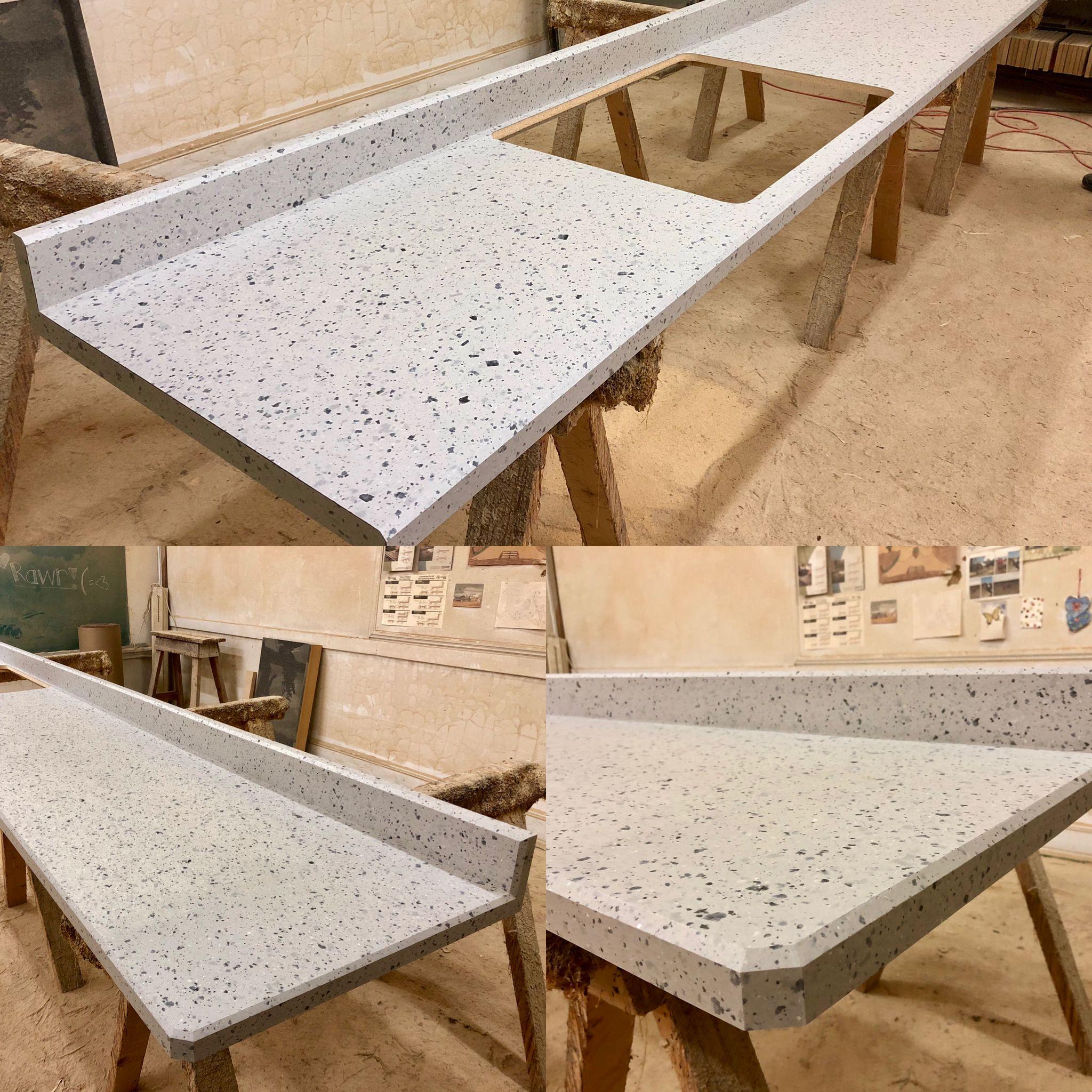 Tinted Paper Terrazzo All Custom Beveled Edge Kitchen Countertop