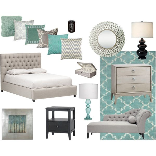 A home decor collage from March 2014 featuring tufted furniture, drawer  nightstand and grey chaise lounge. - Grey With Pops Of Color Home: Master Bedroom Pinterest Gray