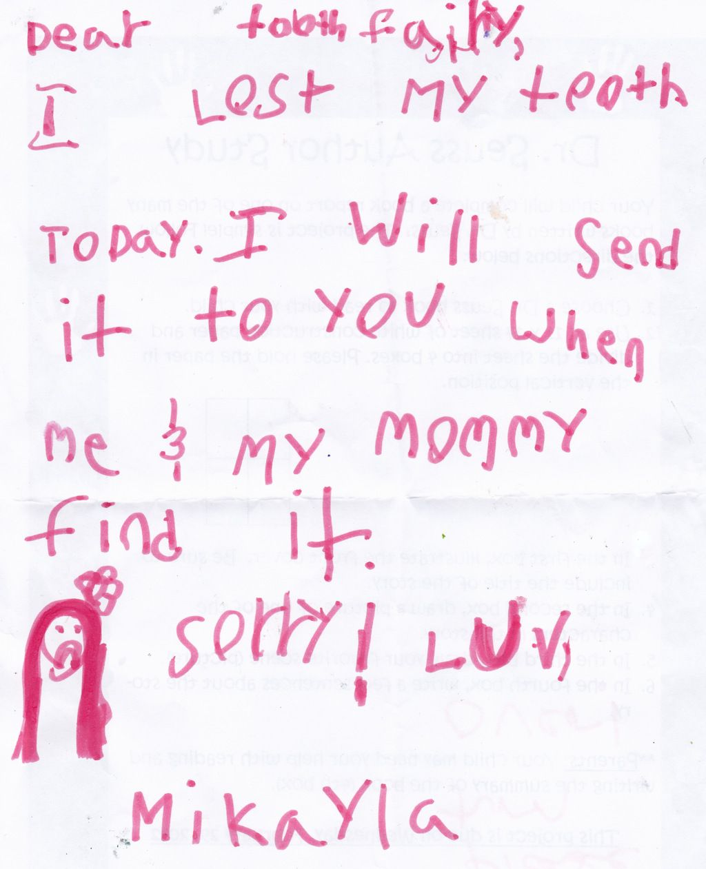We have lost a tooth the tooth fairy returns pics for Fairy letters