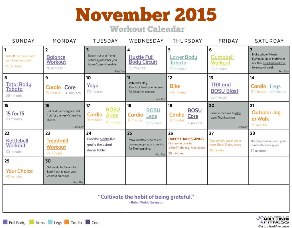 Your Complete Workout Calendar For November  Train Hard