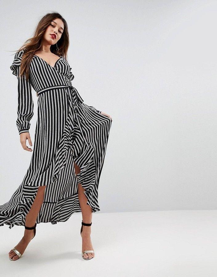ffd78f21d11 Asos Long Sleeve Ruffle Wrap Maxi Tea Dress in Stripe