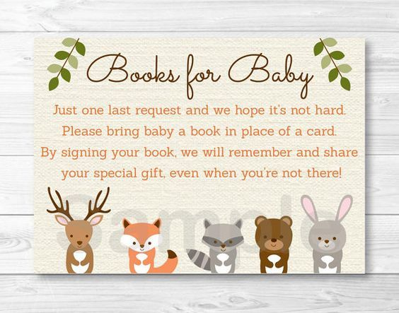 woodland forest animal baby shower book request cards instant, Baby shower invitations