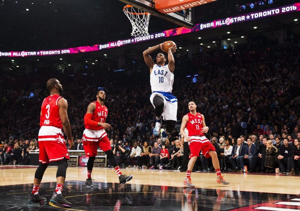 Eastern Conference's DeMar DeRozan, of the Toronto Raptors, (10) slams dunks the ball during first half NBA All-Star Game basketball action in 12/14/2016