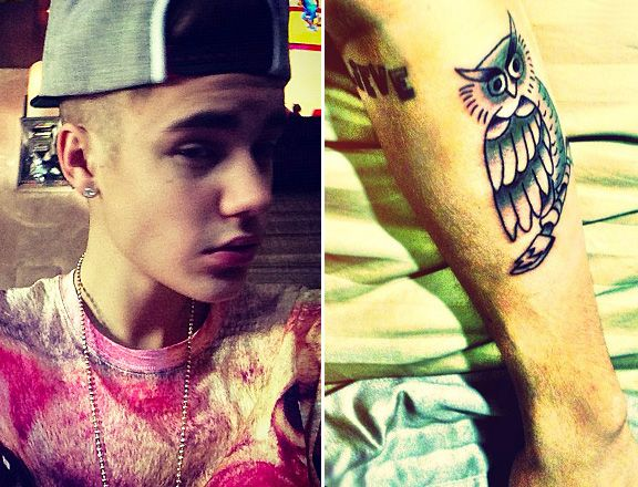 Justin Bieber Gets New Owl Tattoo Maybe Shaves Hair Tattoos Justin Bieber Justin Bieber News