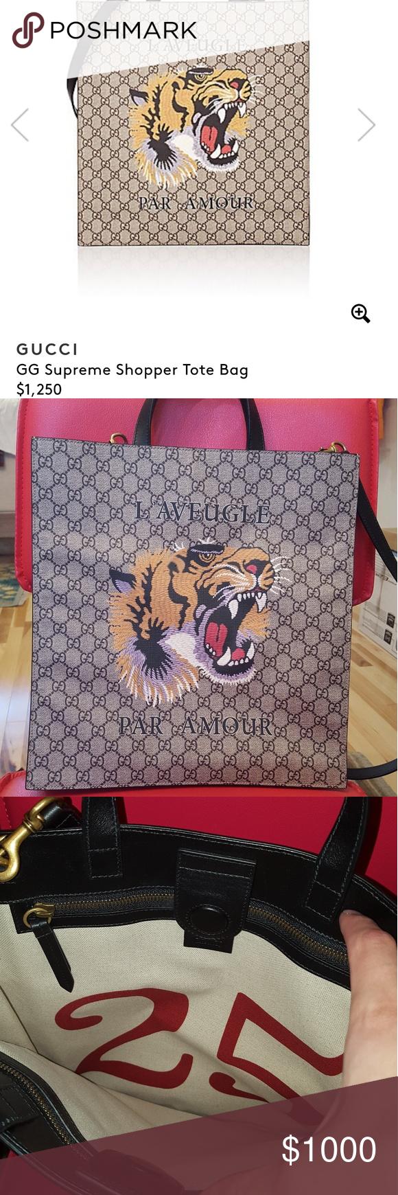 9dacdf79f36c6b Gucci GG Supreme Shopper Tote Bag Italian leather Monogrammed GG logo  Iconic Gucci tiger print 9.5