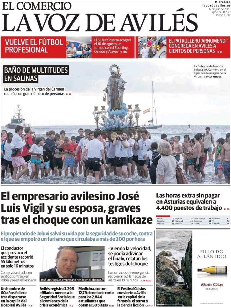 La Voz De Avilés 17 De Julio De 2019 Portadas De Periodicos 17 De Julio Empresario