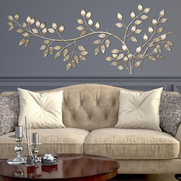 Stratton Home Decor Brushed Gold Flowing Leaves Wall Decor (60.00 X ...