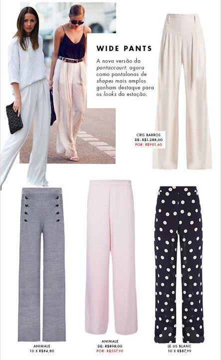 Wide Pants a nova versão da Pantacourt! Confira essa selação!   ENCONTREI AQUI NESSA LOJA: http://imaginariodamulher.com.br/look/?go=2bvfqMD