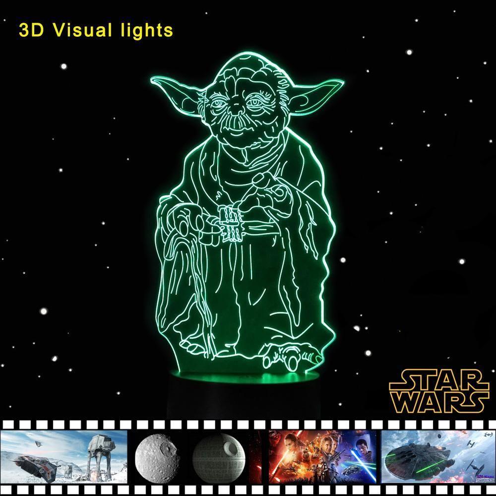 3d Lampade Usb Touch Night Light Star Wars Yoda Table Desk Lamp Star Wars Yoda Night Light Starlight