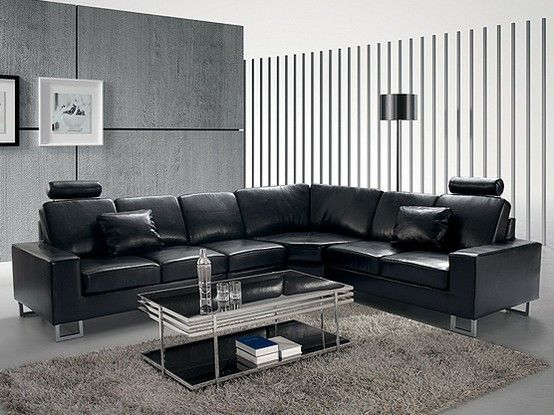Black Lounge Suite Leather Corner Sofa Modular Corner Sofa Corner Sofa Living Room