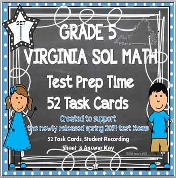 A set of TASK CARDS for Grade 5 Math in VIRGINIA...made to support the newly released SOL items in 2014!!