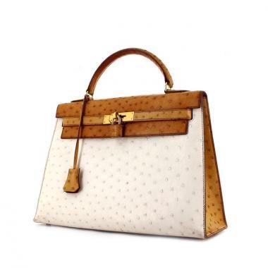19de3467a490 Sac à main Hermes Kelly 32 cm en autruche gold blanche et marron Hermes  Kelly Bag