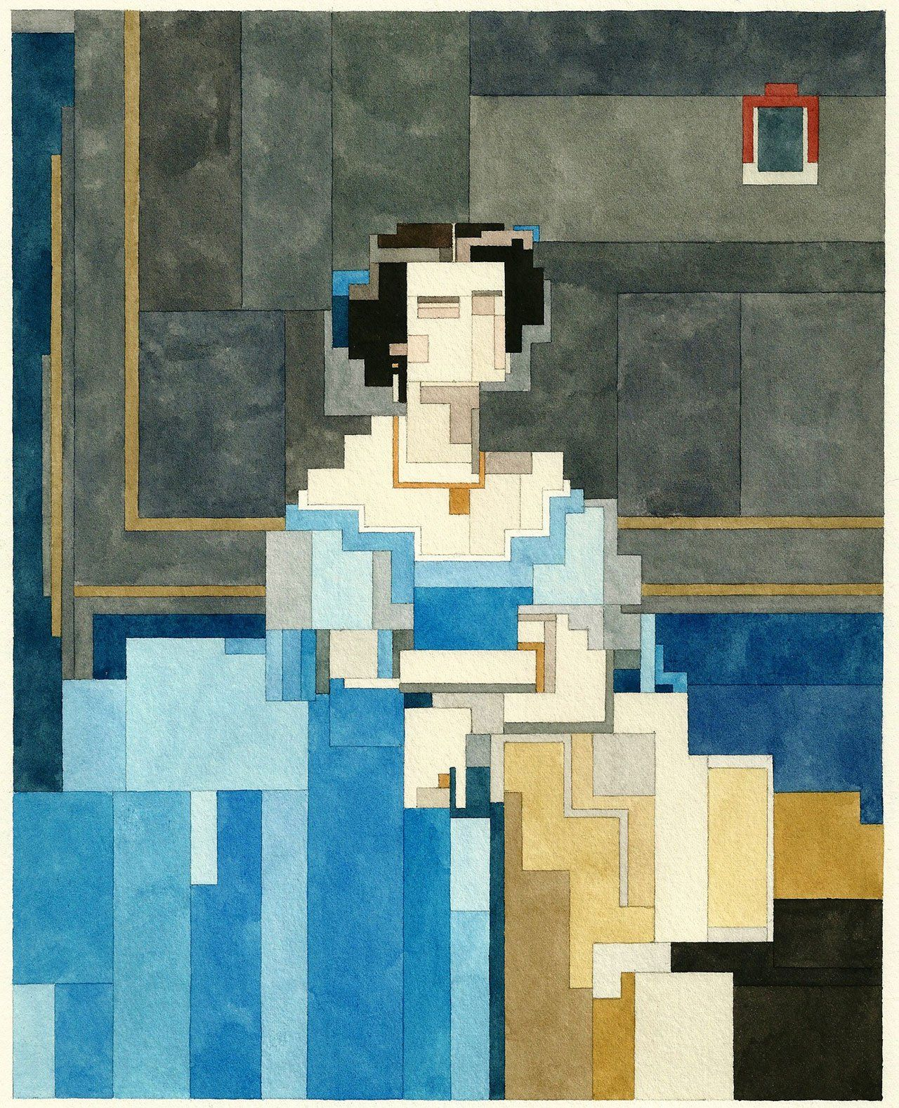 Watercolor art history - Art History Pixelated New Watercolour Paintings By Adam Lister
