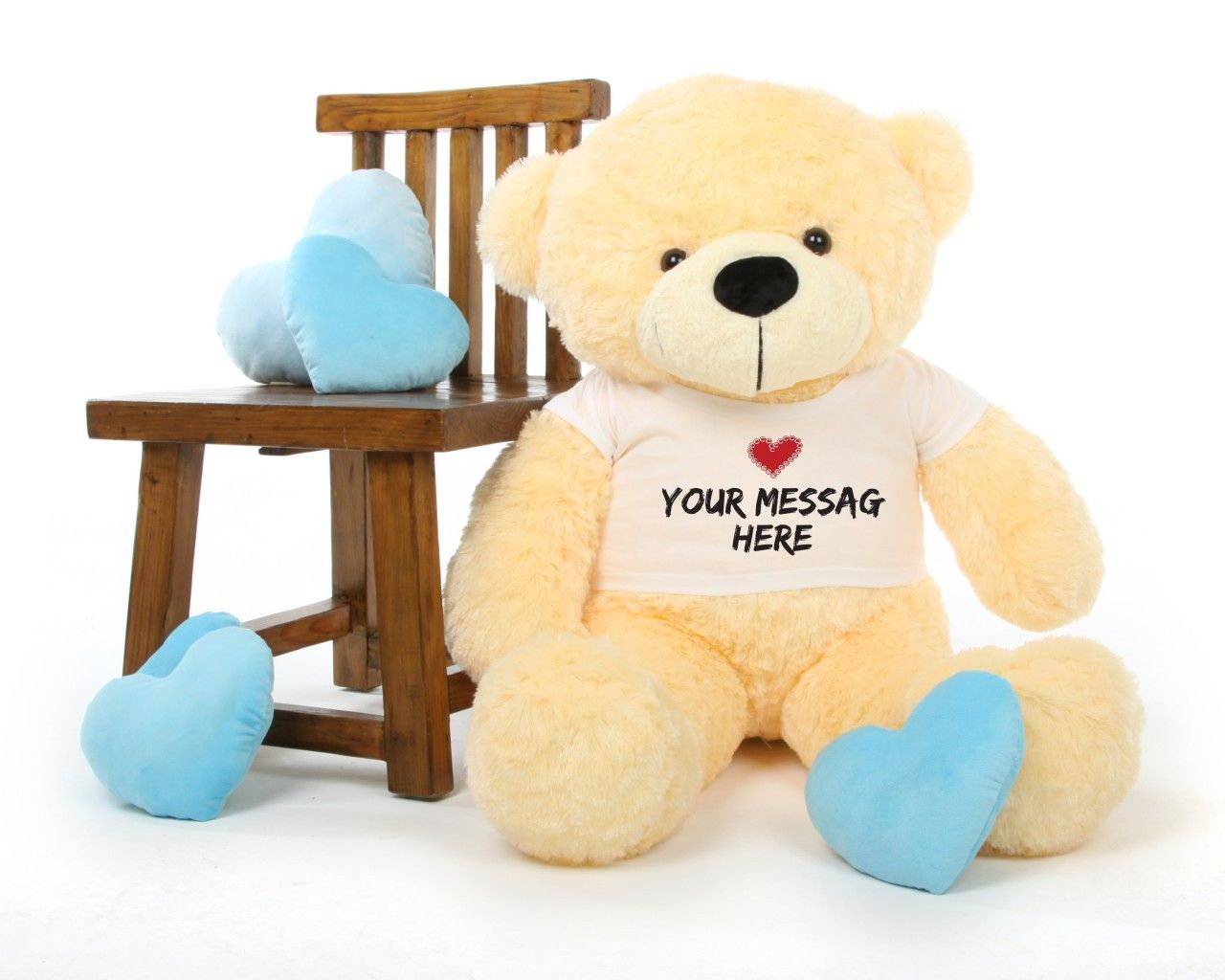 Cozy Cuddles 38 Inch Cream Personalized Teddy Bear With Heart Stamp T Shirt