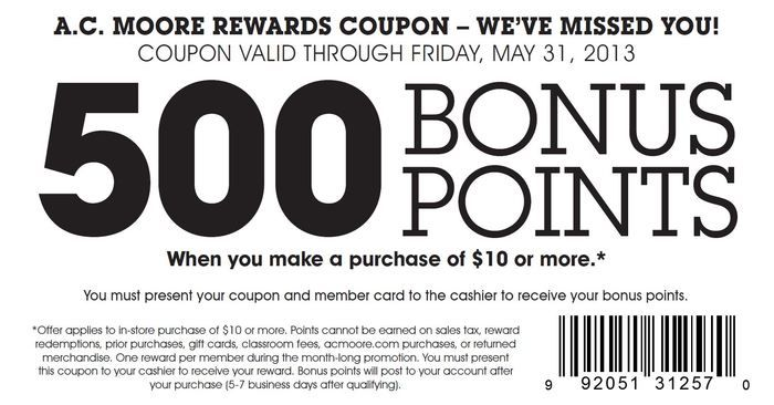 AC Moore 500 Bonus Points Printable Coupon crafts Pinterest - coupon disclaimer examples