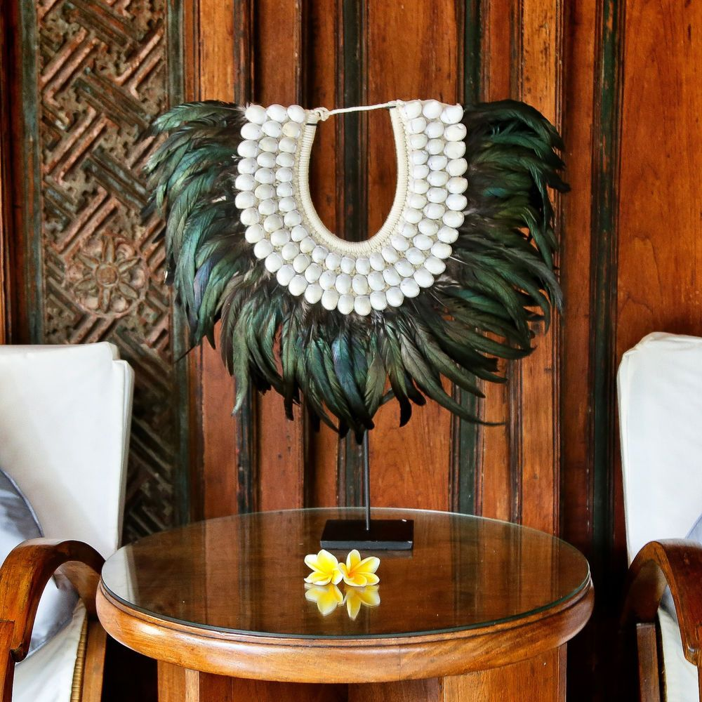 Hand Made Sea Shell and Feather Tribal Necklace Home Interior Decor with Stand