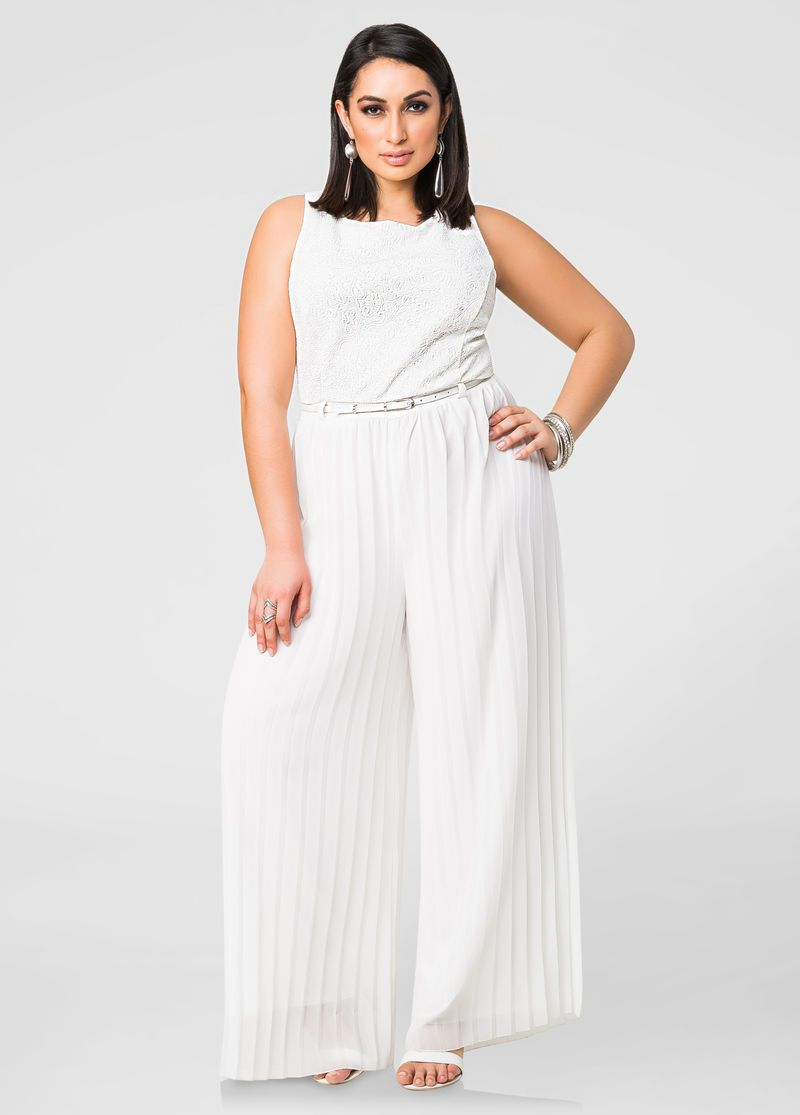 694cda29186 Pleated Chiffon Wide Leg Jumpsuit Pleated Chiffon Wide Leg Jumpsuit