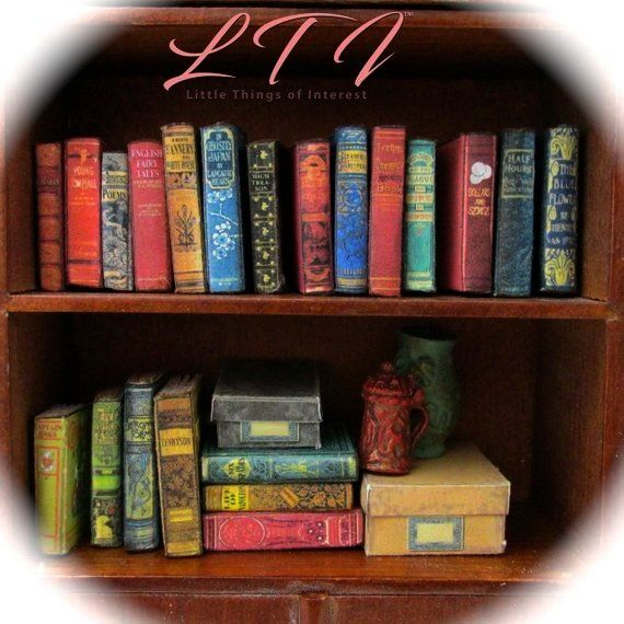 DUSTY OLD BOOKS Miniature Books Dollhouse 112 Scale 1 Scale Prop Fill a Bookshelf Faux Books Library 21 DUSTY OLD BOOKS Miniature Books Dollhouse 112 Scale 1 Scale Prop F...