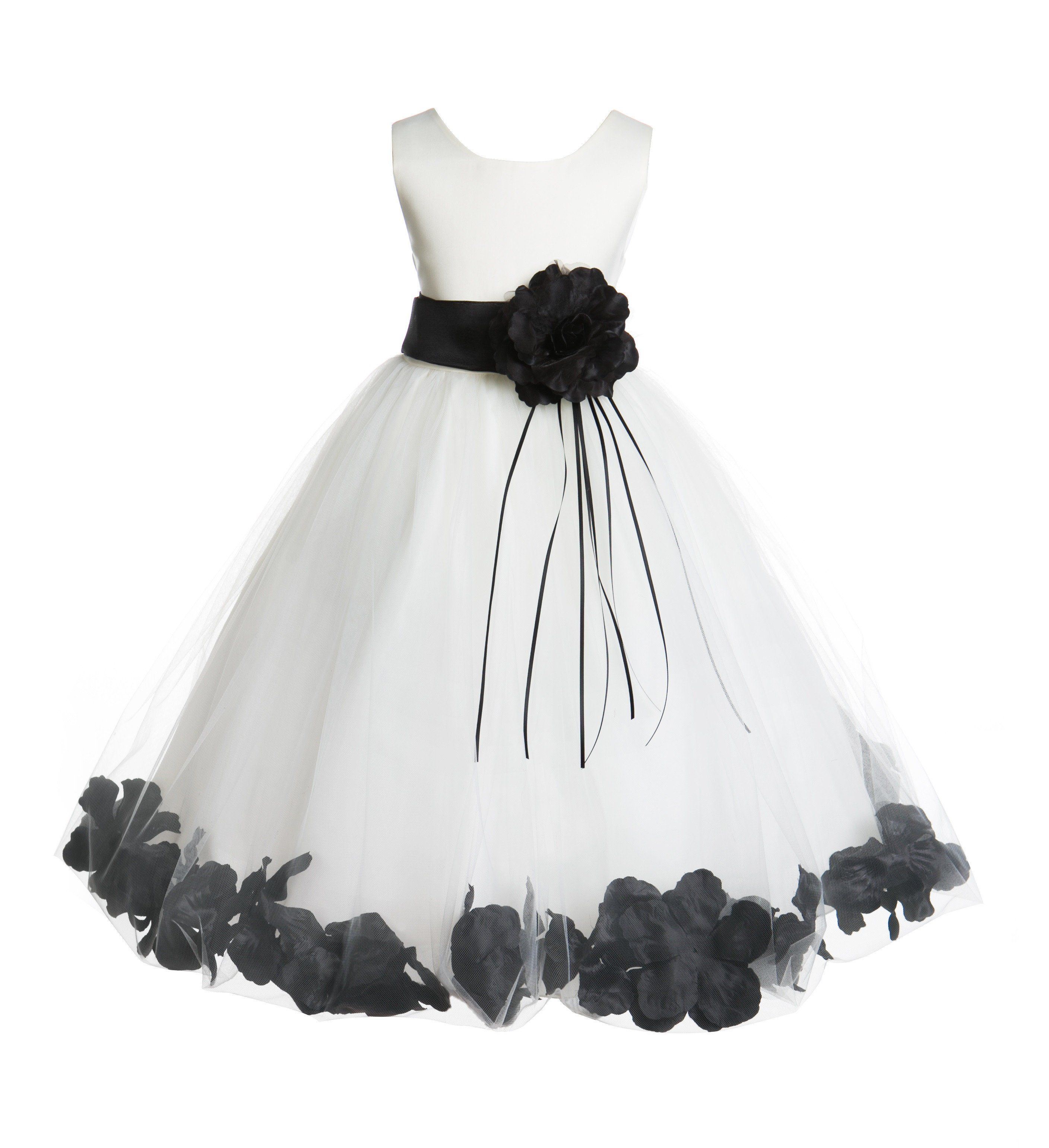 Ivory tulle floral rose petals princess wedding pageant recital