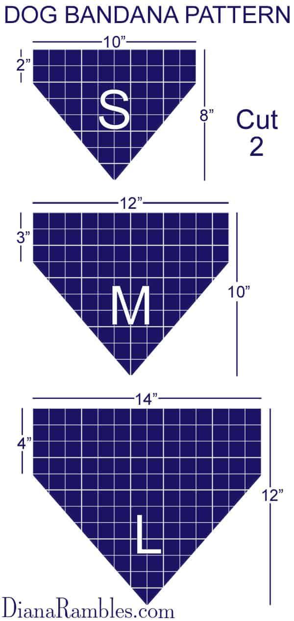 Dog Bandana Pattern Size Chart  Pattern Guidelines for Creating a Personalized Dog Bandana