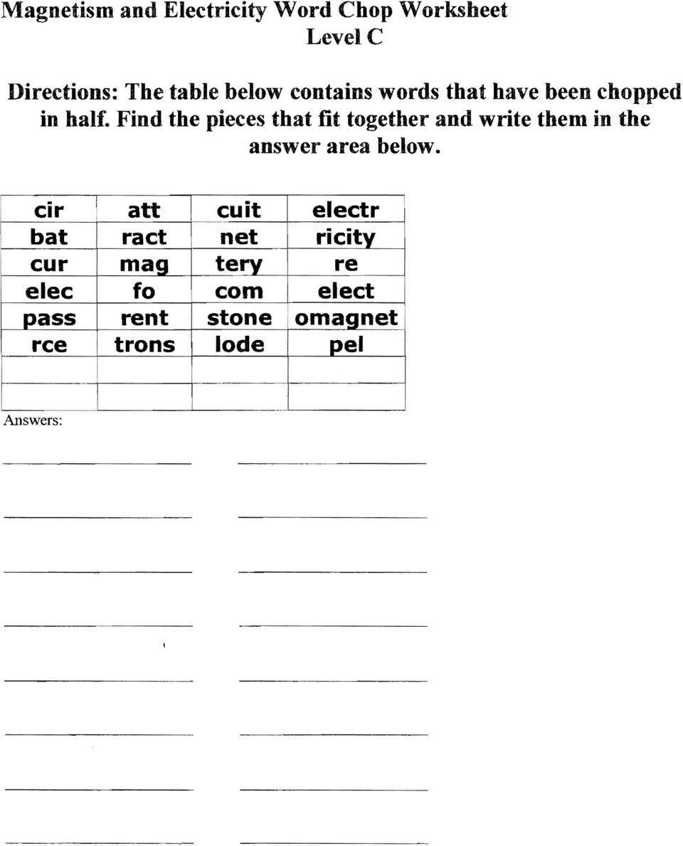 Magnetism Worksheet Answer Key Fourth Grade Homework Packet Magnets And Electricity Due Answer Keys Worksheets Edmark Reading Program