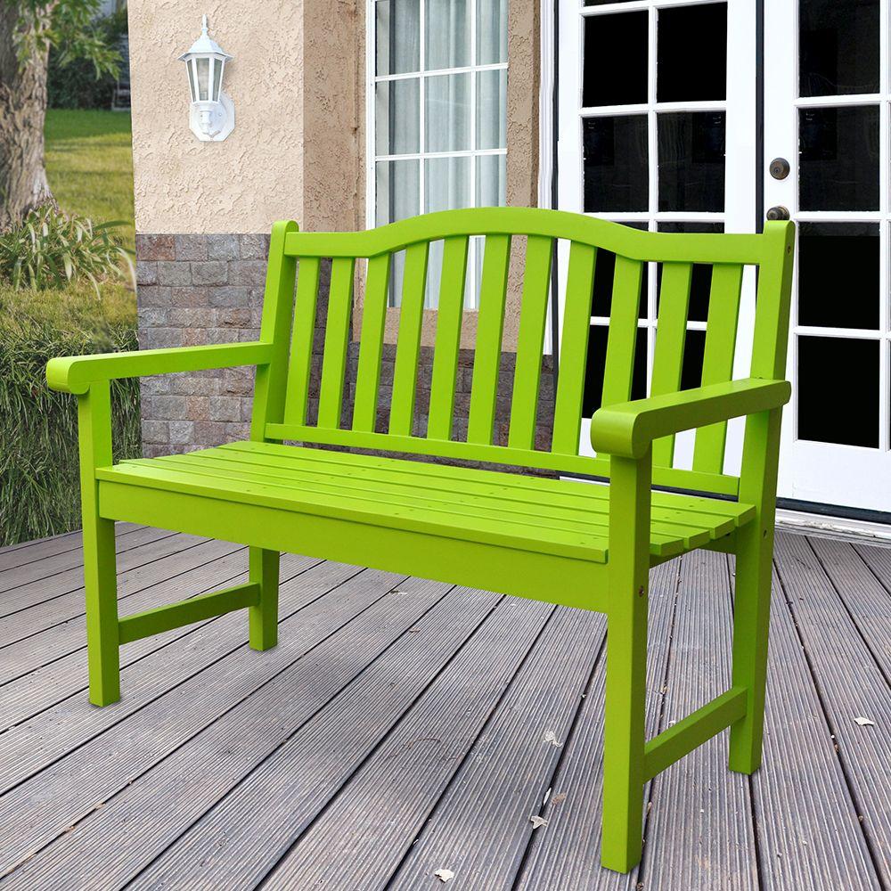 Outdoor Patio Belfort Garden Bench Lime Green Painted Cedar Outdoor Garden Bench Backyard Seating Wooden Garden Benches
