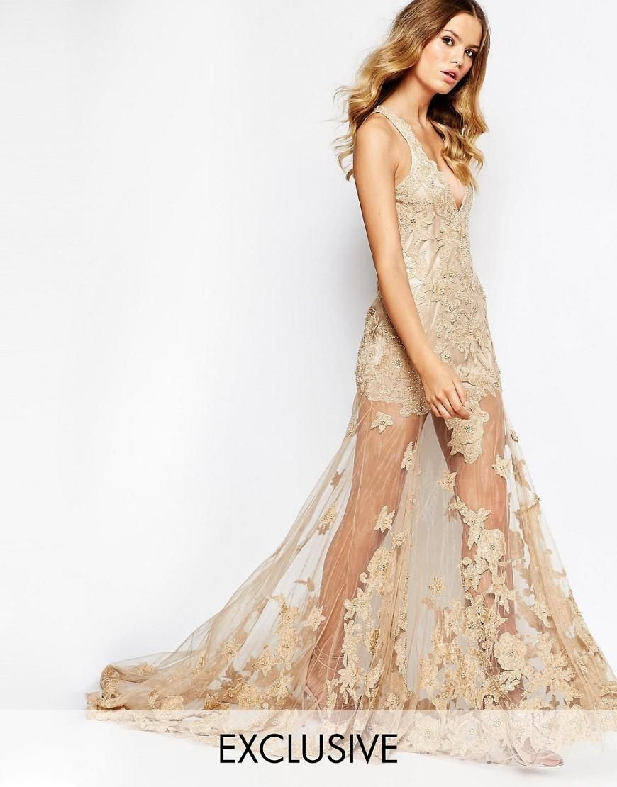A Star Is Born | A Star Is Born Allover Luxe Embellished Maxi Dress ...