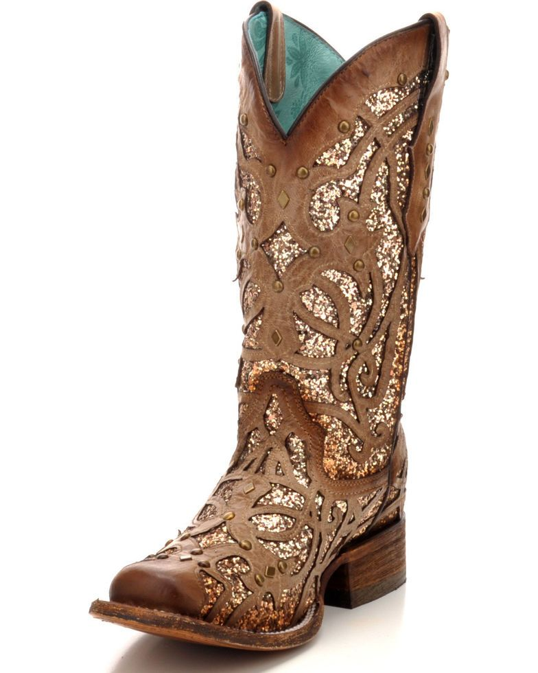 e73e3da1911 Corral Women's Orix Glitter Inlay & Studded Cowgirl Boots - Square ...
