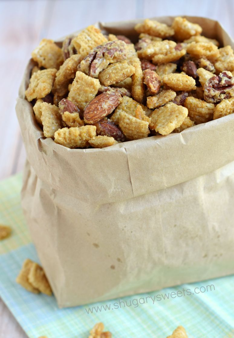 You can\'t stop eating this one!! Easy, Nutty Caramel Snack Mix is a ...