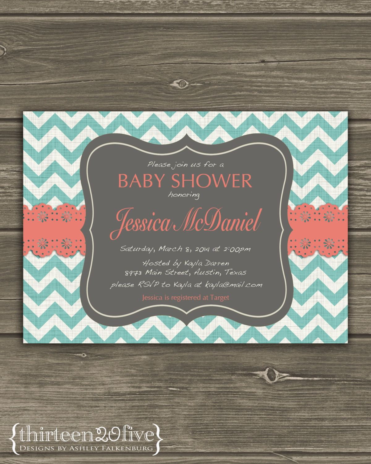 simple diy bridal shower invitations%0A Teal Chevron Baby Shower Invitation Coral Lace Custom DIY